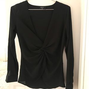 Nasty Gal Black Plunge Top | XS/S